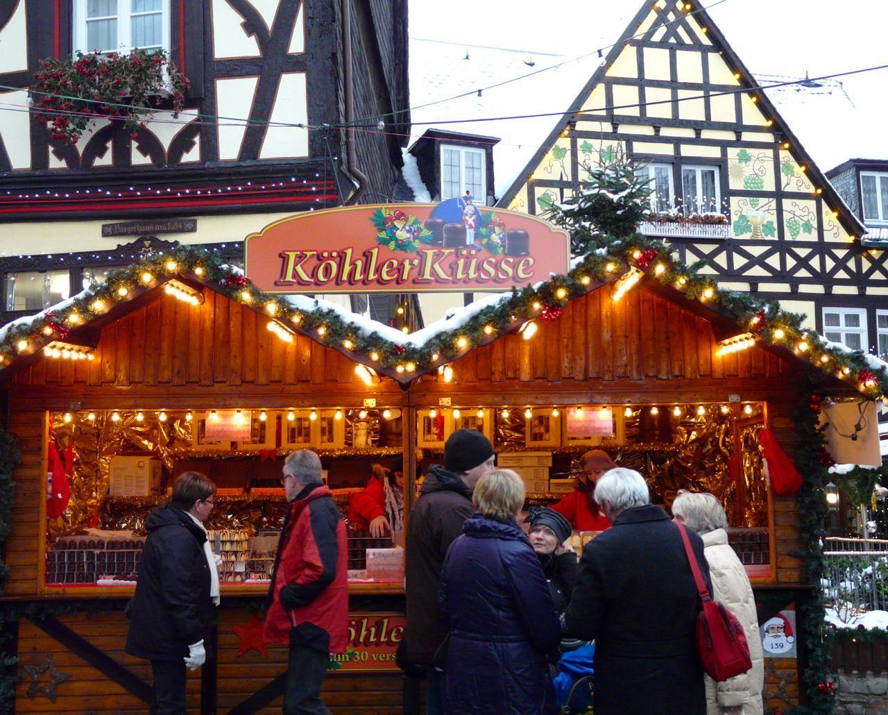 Christmas market in Rudesheim, Germany. Think food. Lots
