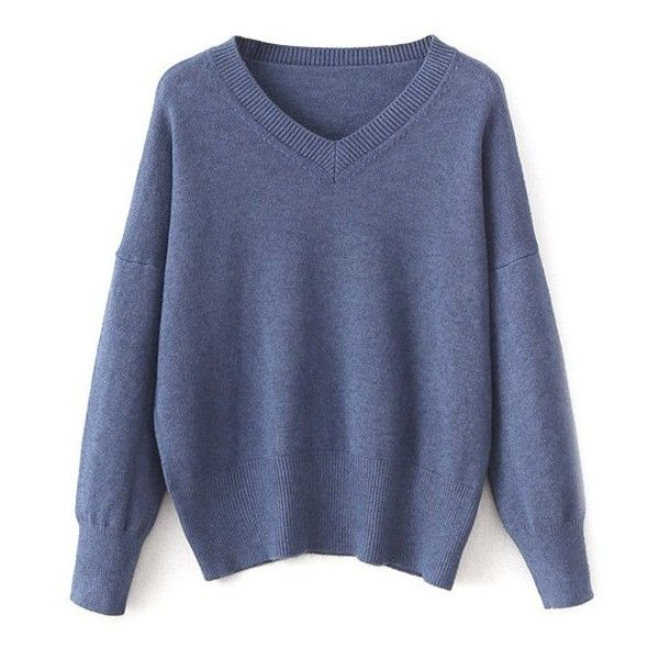 V Neck Long Sleeve Pullover Knitwear (48 BAM) ❤ liked on Polyvore featuring tops, sweaters, sweater pullover, v-neck sweater, blue pullover, long sleeve sweater and v neck pullover