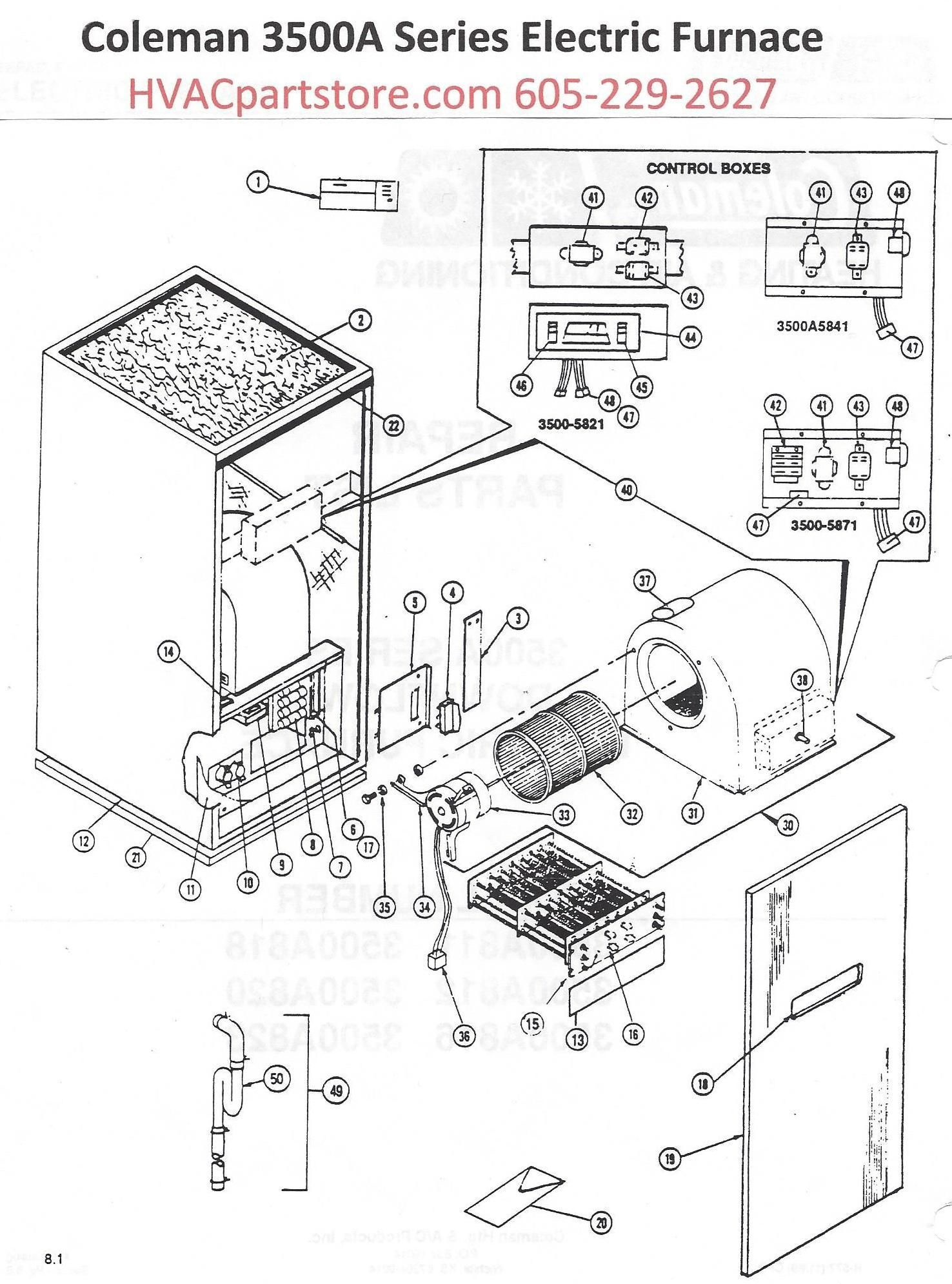 3500a820 coleman electric furnace parts hvacpartstore 32 wiring diagram  [ 1476 x 1991 Pixel ]