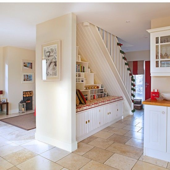 Under Stairs Kitchen Storage Ideas: Neutral Open-plan Hallway
