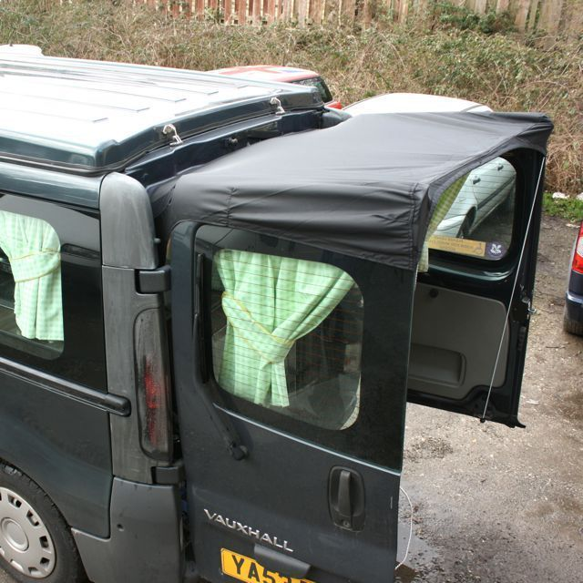Barn door awning for Vivaro / Trafic (black) - van to Campers Barn door awning for Vivaro / Trafic