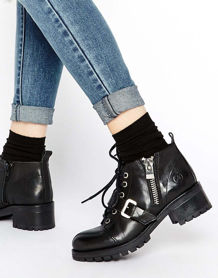 Bronx Chunky Strap Leather Ankle Boots  e6ef6bc240