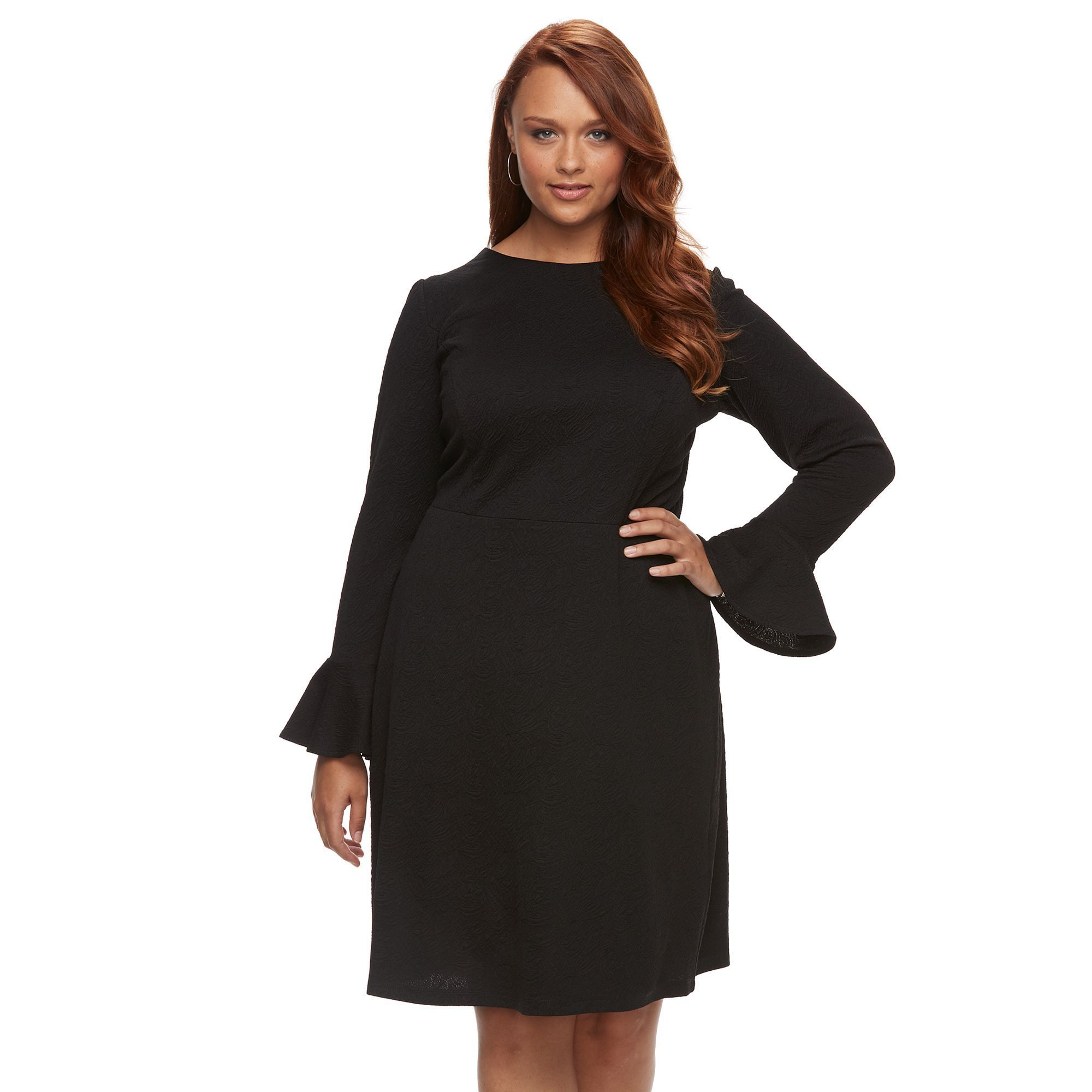 182d3ad5e9d Plus Size Suite 7 Bell Sleeve Fit   Flare Dress