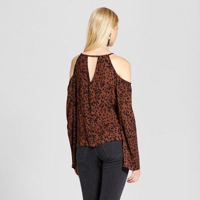 6181f77f2fea5b Women's Printed Keyhole Off the Shoulder Top - Mossimo Supply Co. Brown M