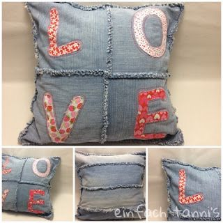 Kissen aus alter Jeans / Pillowcase made from old pair of jeans / Upcycling