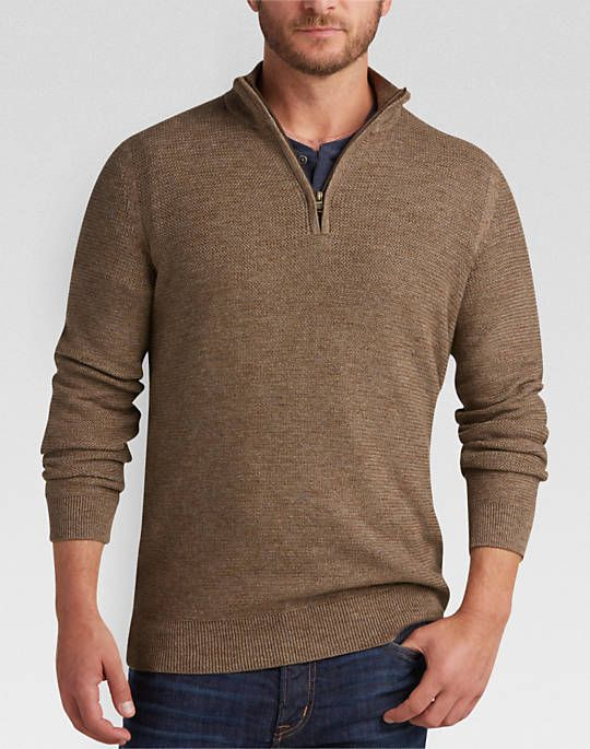 20b85d6a7b3 Joseph Abboud Light Brown Half-Zip Modern Fit Sweater - Mens Sweaters