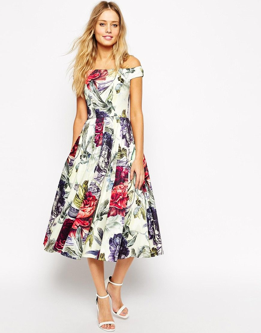 Could be cute with sparkly belt! ASOS Bardot Floral Midi Prom ...