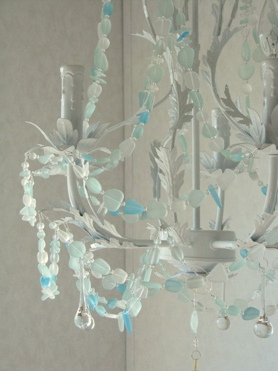 Sea Glass Chandelier Lighting Beach Cottage Chic Coastal Decor ...
