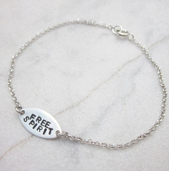 This listing is for a super cute hand stamped sterling silver oval tag bracelet, featuring the words FREE SPIRIT with delicate sterling chain and a ring clasp. The tag measures 15x7.5mm and the total length of the bracelet is 6.75 inches but I will happily adjust the chain to your desired length as long as you let me know how long you want it in the message to seller section when checking out.  ATTENTION: this listing is just for the STERLING SILVER OVAL TAG BRACELET bracelet, the nautilus…