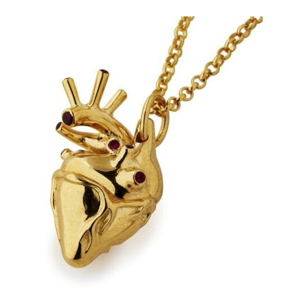 Large Yellow Gold Plated Anatomical Heart Necklace with Rubies (10,910 MXN) ❤ liked on Polyvore featuring jewelry, necklaces, gold jewelry, heart shaped necklace, ruby necklace, gold jewellery and gold heart shaped necklace