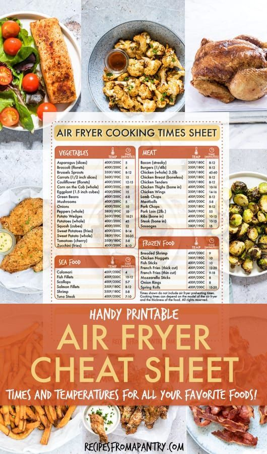 Air Fryer Cooking Times Cheat Sheet #airfryerrecipes