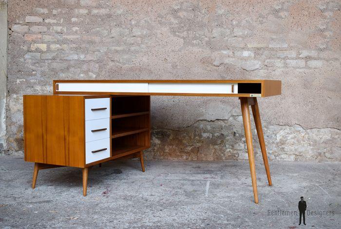 Bureau Bois Style Scandinave : Creation sur mesure bureau tiroirs teck massif bur lt