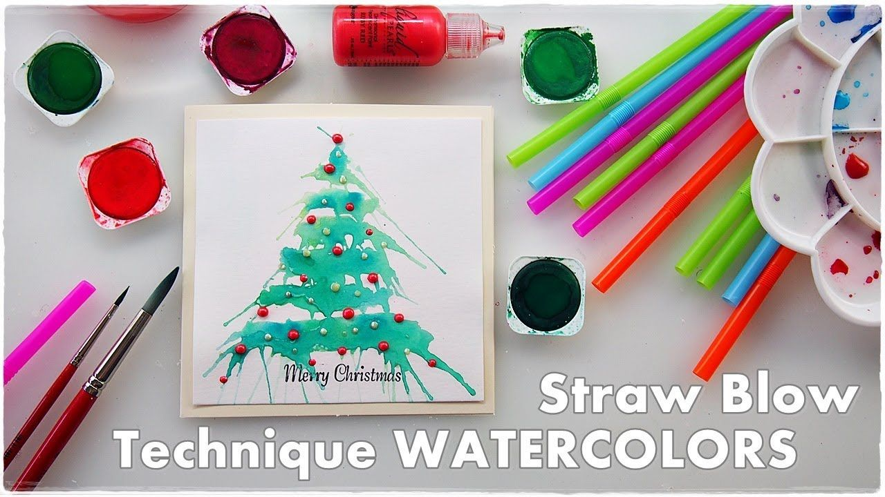 Watercolor Straw Blow Christmas Tree Technique Maremi S Small Art Youtube Painted Christmas Cards Watercolor Christmas Cards Christmas Tree Painting