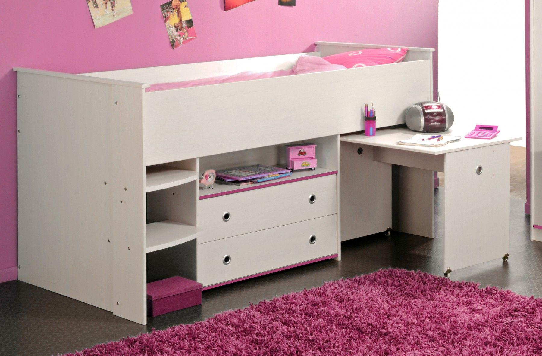 Lit combiné enfant 90x2000 en bois imitation Pin - lit avec espace on