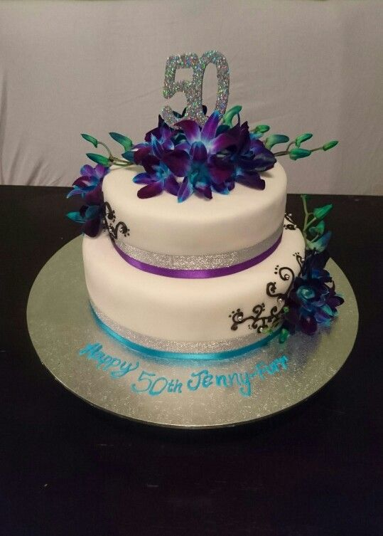 2 Tier 50th Birthday Cake With Blue And Purple Orchids