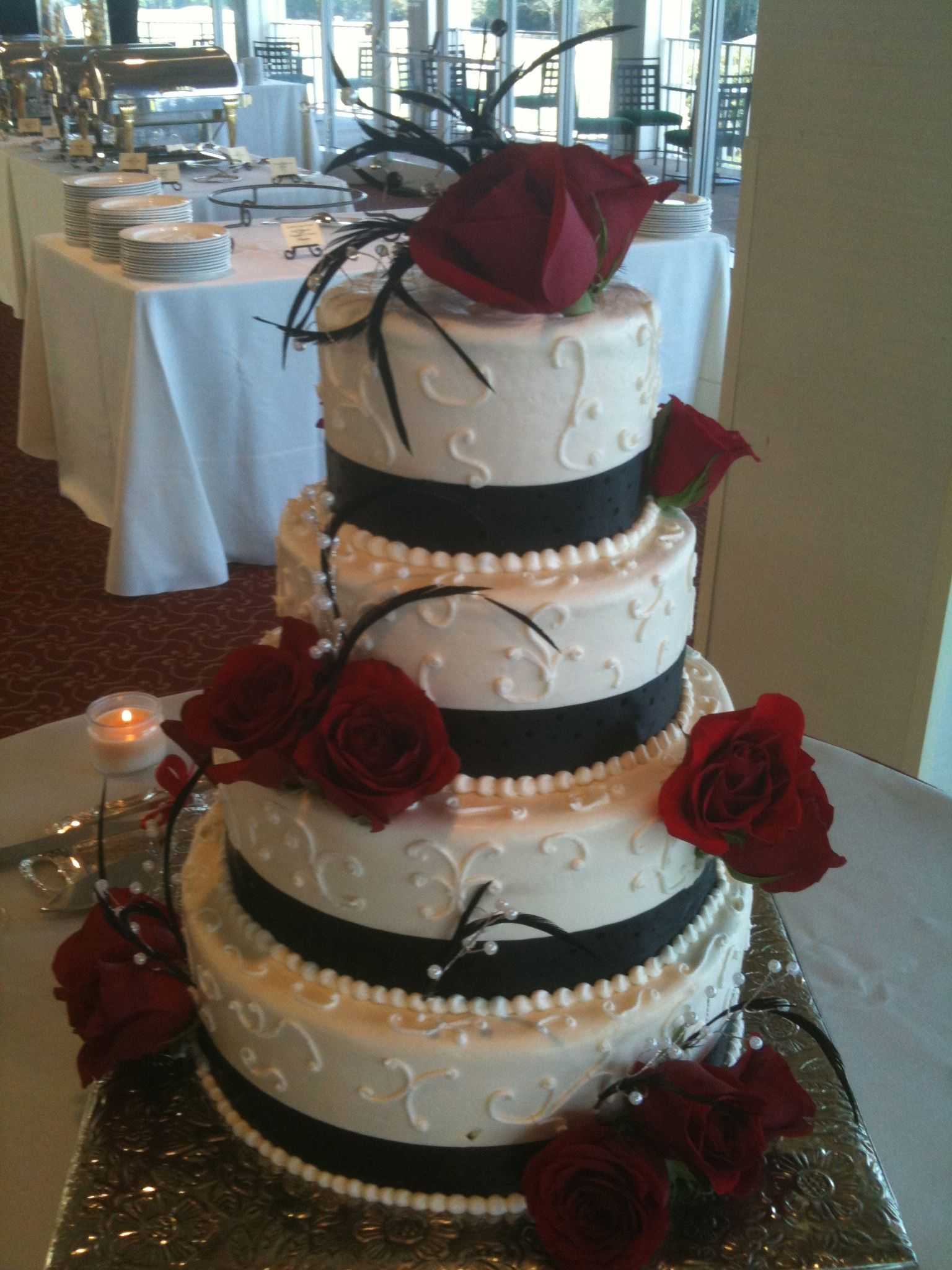 Black And White Cake With Red Accents Wedding Cakes With Cupcakes Buttercream Wedding Cake Black And White Wedding Cake