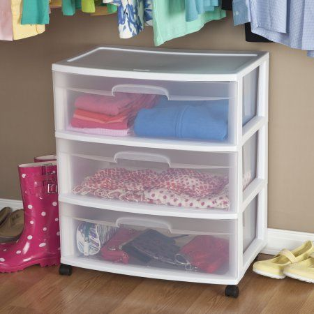 Sterilite 3 Drawer Wide Cart White Storage Cart With Drawers