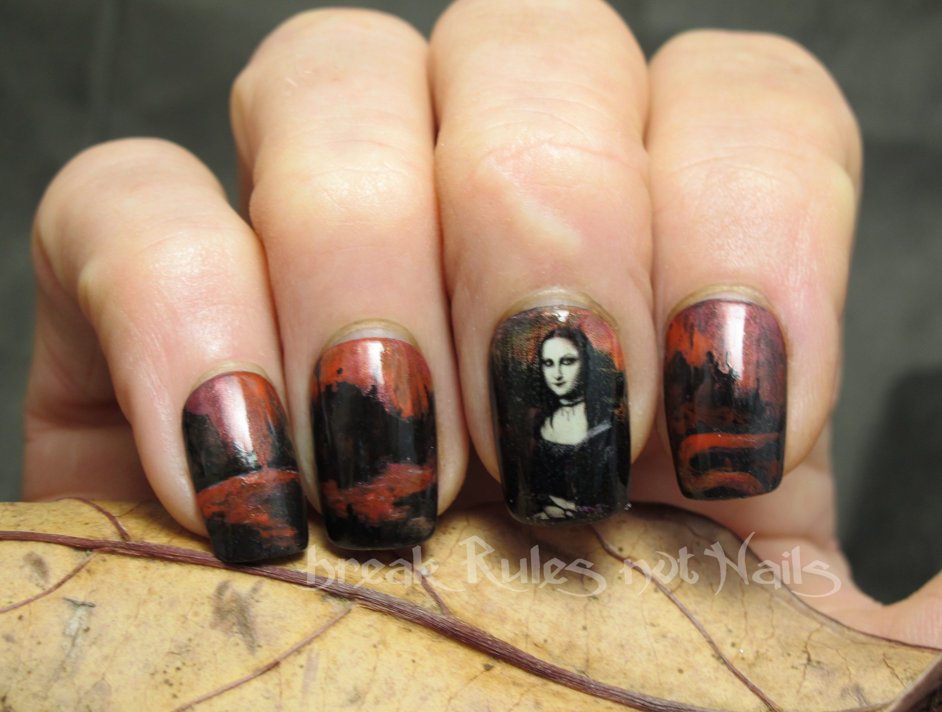 Gothic Nails As Goth Mona Lisa Nail Art Handpainted