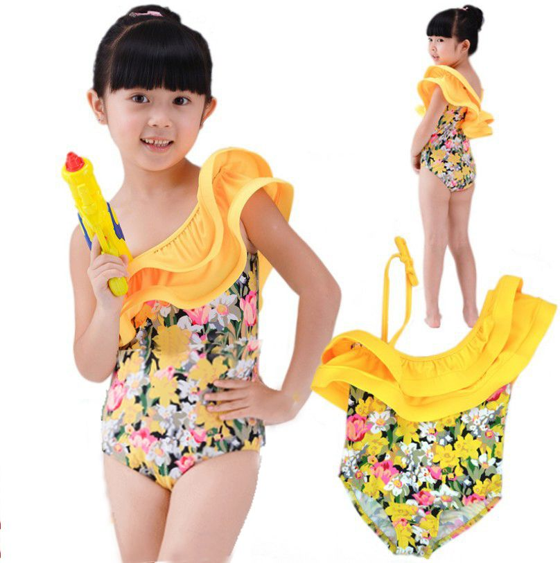 de8b486d0b Free shipping Children's Hot spring bathing suit Girls swimsuit Baby One  pieces floral one shoulder swimwear bathing clothing $15.80