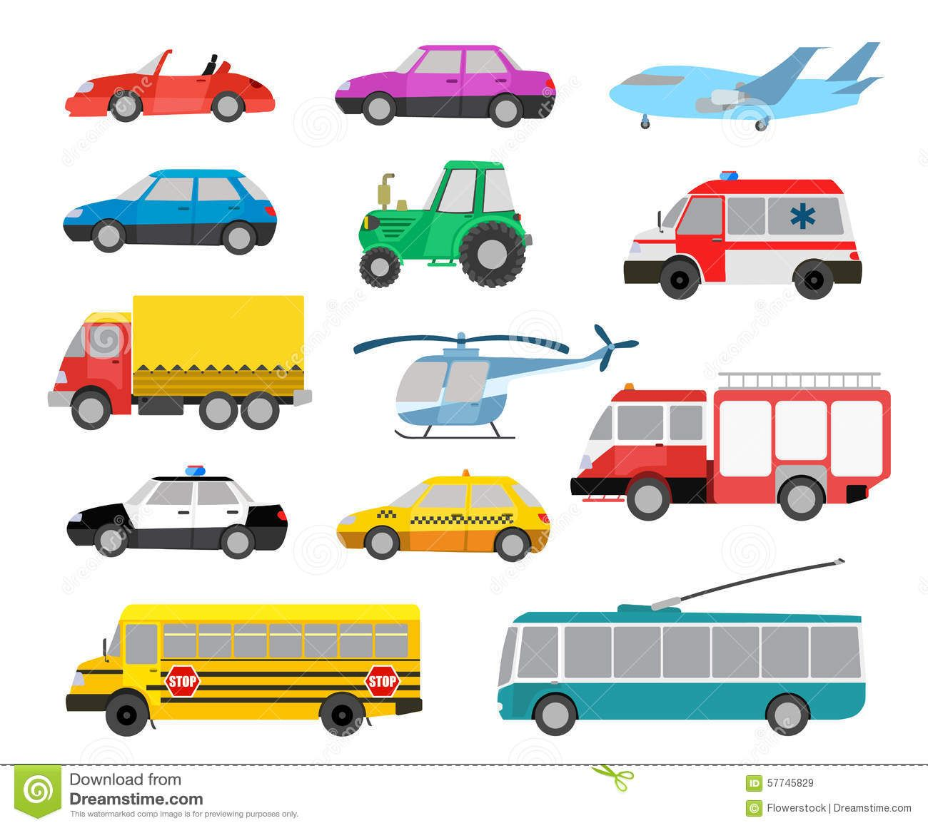 Set Of Cartoon Cute Cars And Vehicles Download From Over 62