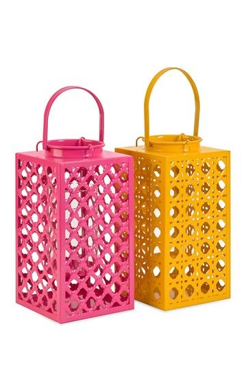 Bloom Pierced Pink and Orange Metal Lanterns - Set of 2 by Imax on @HauteLook