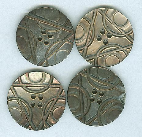 Set of 4 Triangle And Circle Art Deco Pearl Buttons