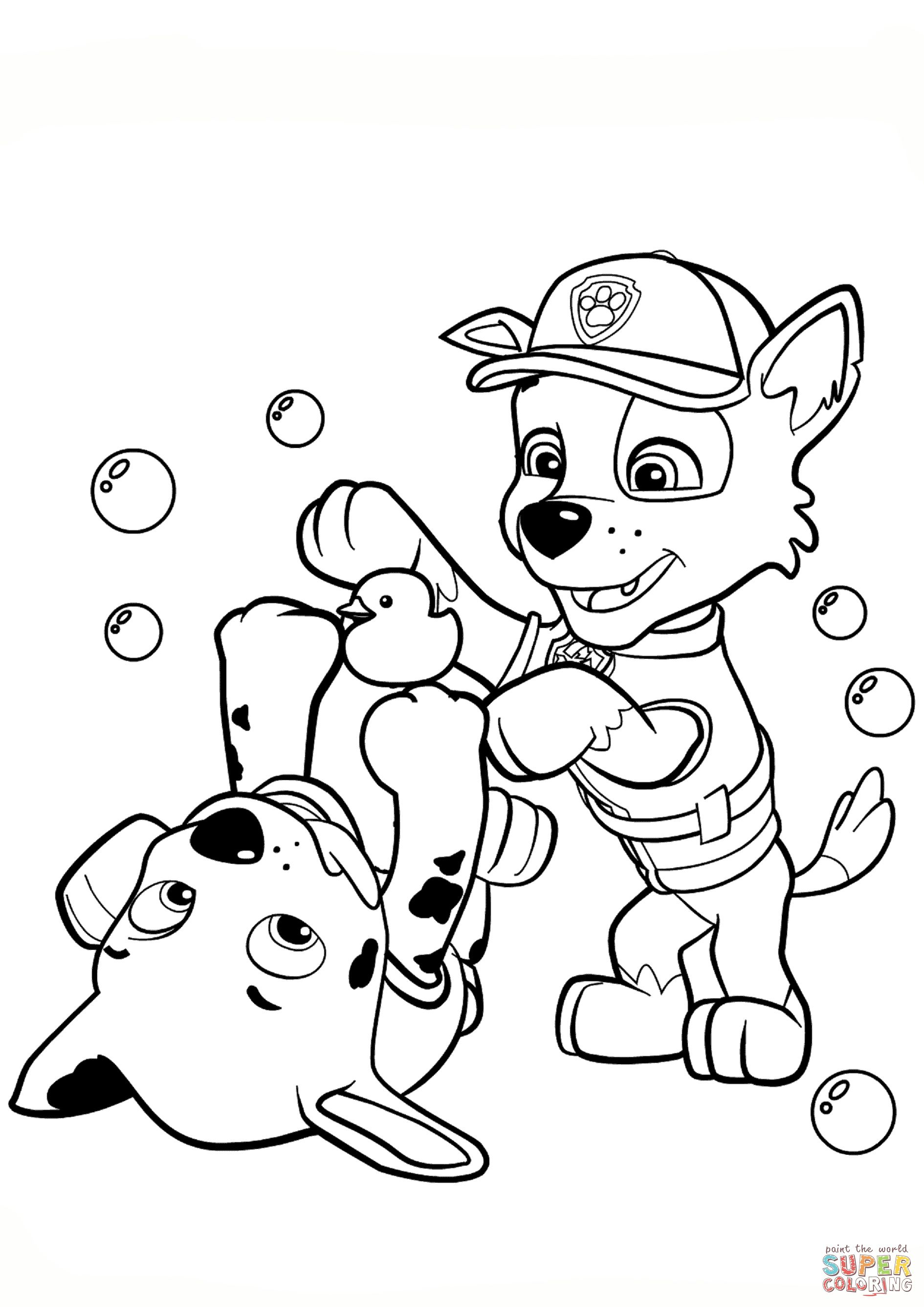 Paw Patrol Coloring Pages Paw Patrol Rocky And Marshall Coloring Page Free Printable Albanysinsanity Com Paw Patrol Coloring Paw Patrol Coloring Pages Paw Patrol Printables