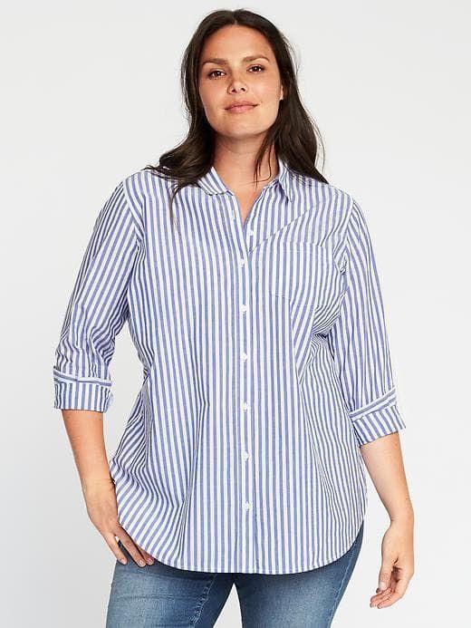 32632271594 Classic Plus-Size Striped Tunic | work wardrobe | Plus size shirts ...