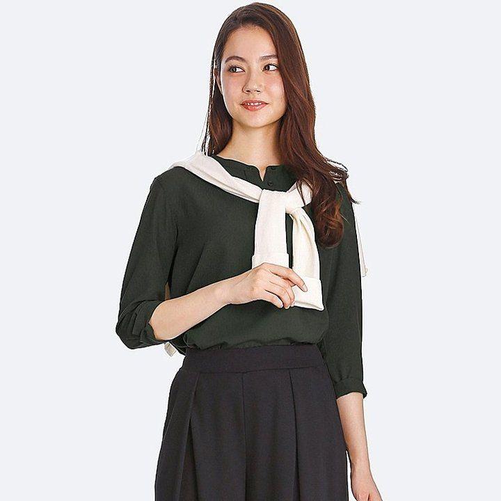 55443b3dbd9 Uniqlo Women s Rayon Stand Collar 3 4 Sleeve Blouse