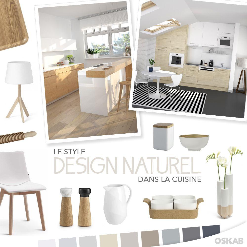 decouvrez notre planche de tendance sur le style design et naturel pour recreer une cuisine qui allie le bois clair et le blanc pour une ambiance