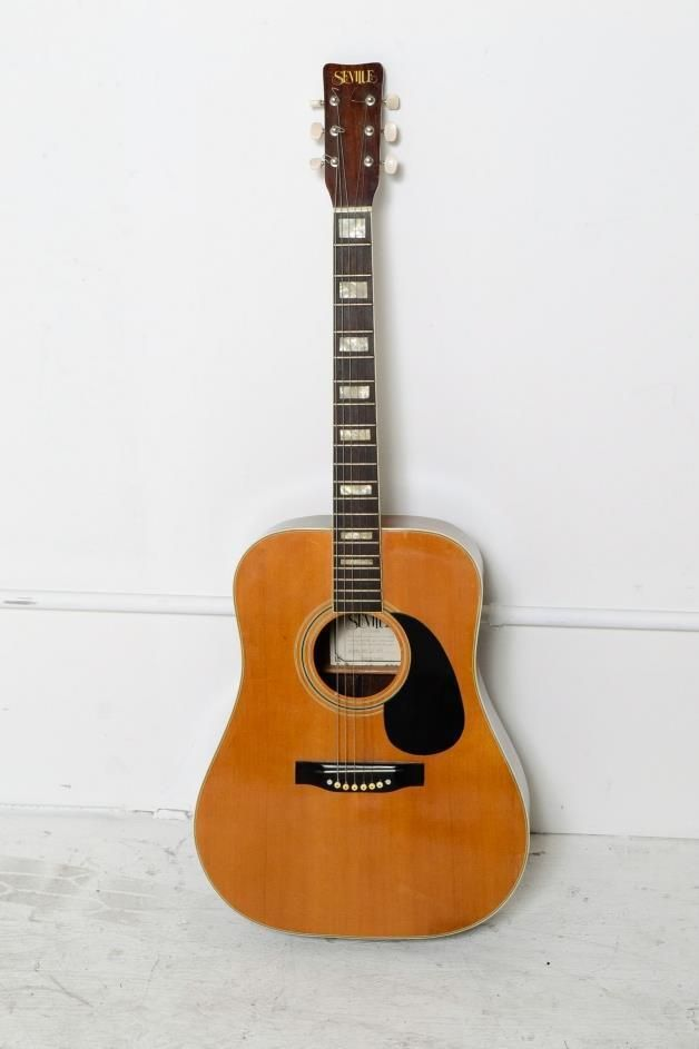 Vintage Seville Acoustic Guitar Model S160 Korea Mother Pearl Inlay Fret Board Guitar Acoustic Guitar Acoustic