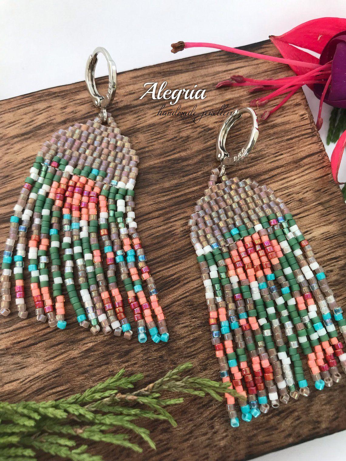 Carlita Floral Earrings Long Beaded Earrings Bead Fringe Etsy
