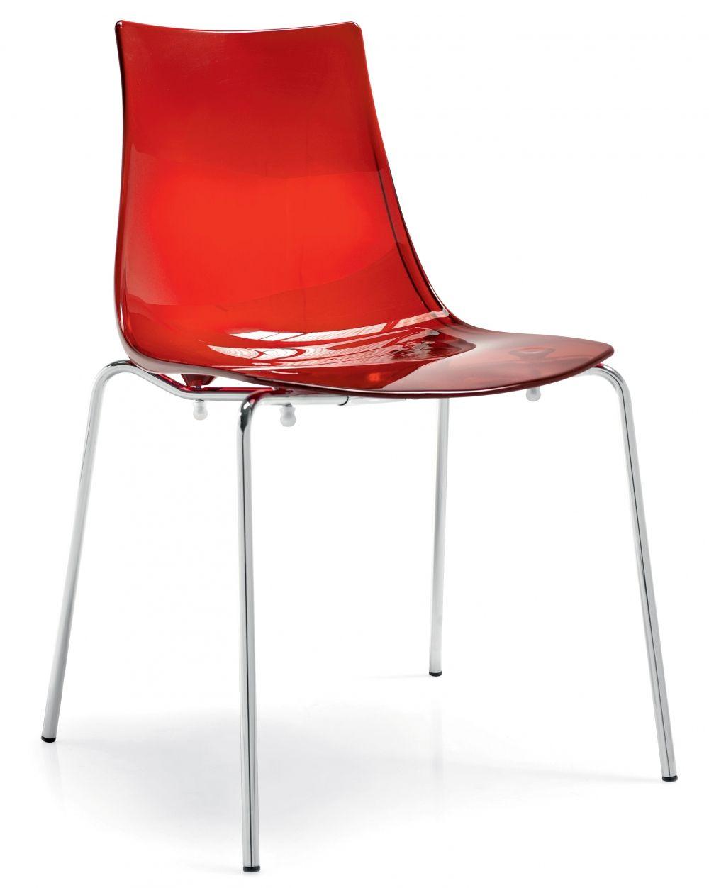 831a8e23db0e Silla de plástico transparente rojo para restaurante. Disponible en más  colores.