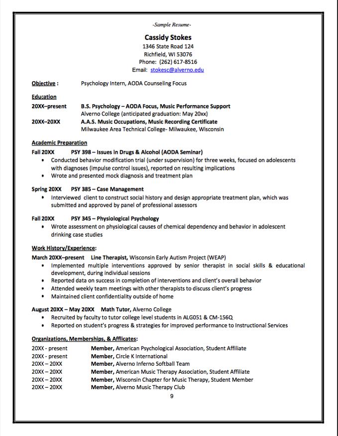 Sample Of Psychology Intern Resume Examples Resume Cv