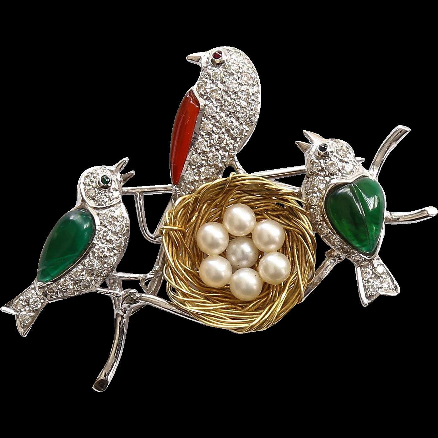 vintage lady 39 s 18k diamond pearl birds with nest brooch fine jewelry bijoux montre. Black Bedroom Furniture Sets. Home Design Ideas