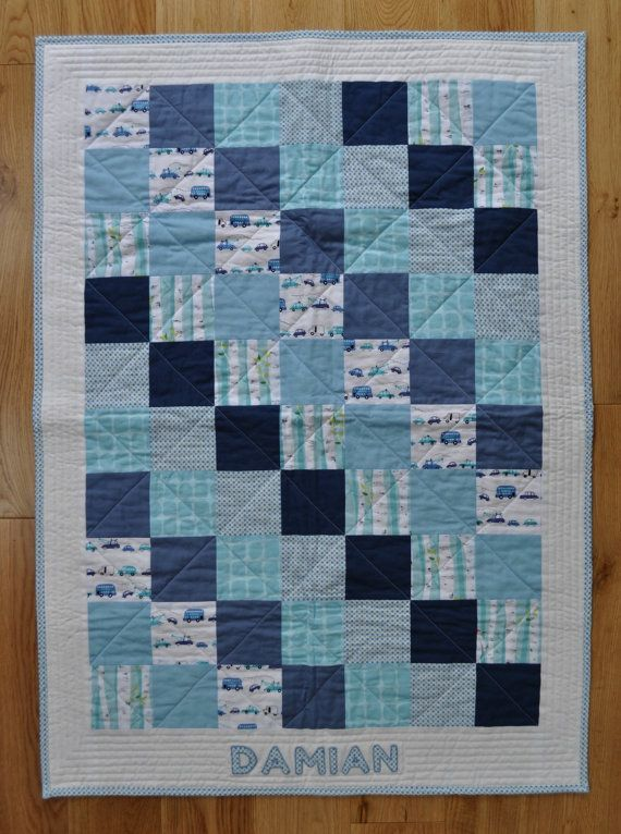 Photo of Beautiful Modern Personalised Baby Boy Quilt by SophieBelleDesigns, €120.00 – Baby Showers