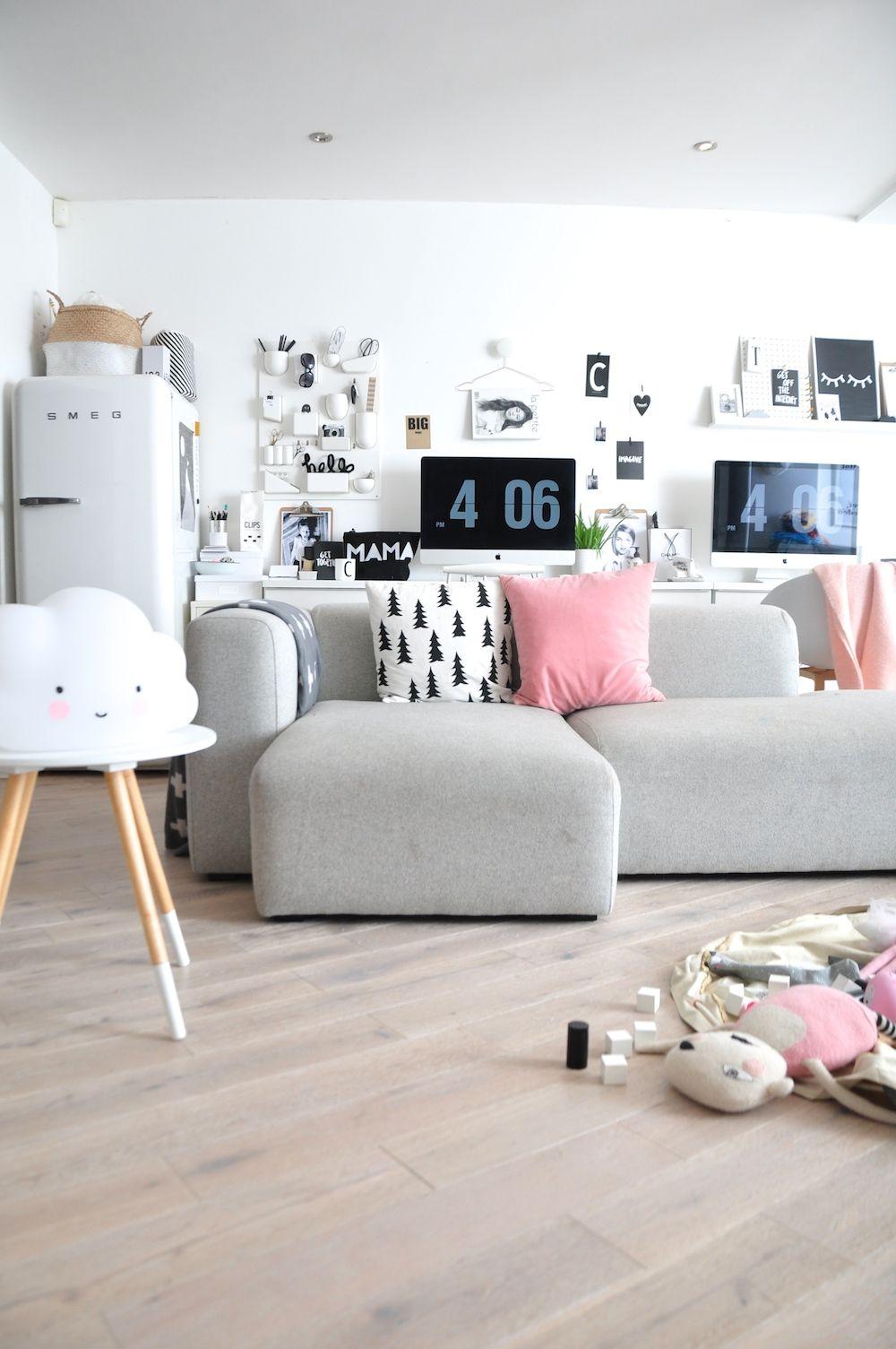 Kaos bags and Le Edit   Uberkid living room pink grey hay sofa kids ...