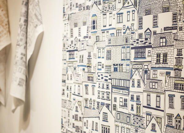 Jess Hogarth Coastal Cottages Wall Paper Art Wallpaper Wallpaper Graphic Design