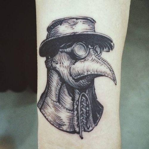 Plague Doctor Mask Tattoo On The Wrist. Tattoo Artist: Doy