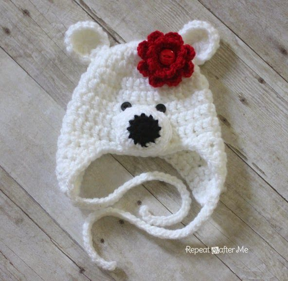Repeat Crafter Me: Crochet Polar Bear Hat Pattern, can be made with ...