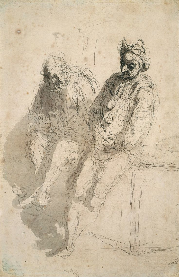 Daumier, ink on paper Just so beautiful and subtle - can learn a lot from looking at the old masters; particularly the drawings
