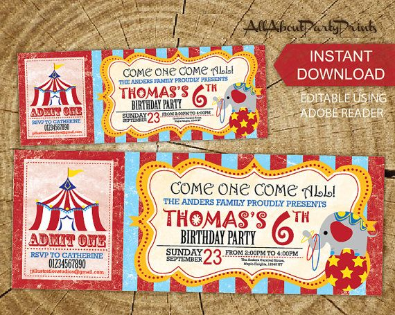 Instant Download Carnival Circus birthday theme Birthday party – Carnival Ticket Birthday Invitations