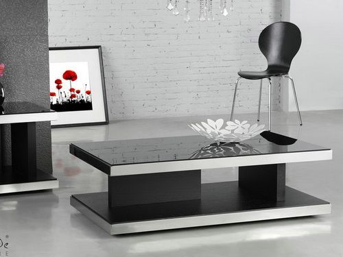 Black Glass Coffee Table Contemporary
