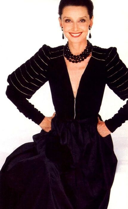 Audrey Hepburn by Jacques Malignon for the American Harper's Bazaar, edition of September 1981. -Audrey was wearing creations of Givenchy Nouvelle Boutique (evening dress, necklace and earrings).
