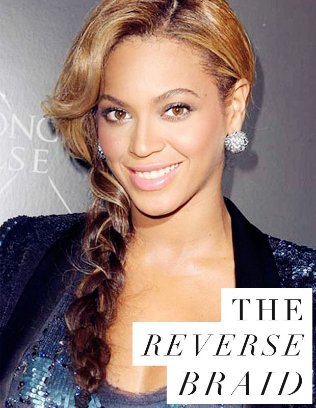 Unusual yet easy-peasy to do, Beyonce's reverse braid is a super-chic quick party hairstyle choice!