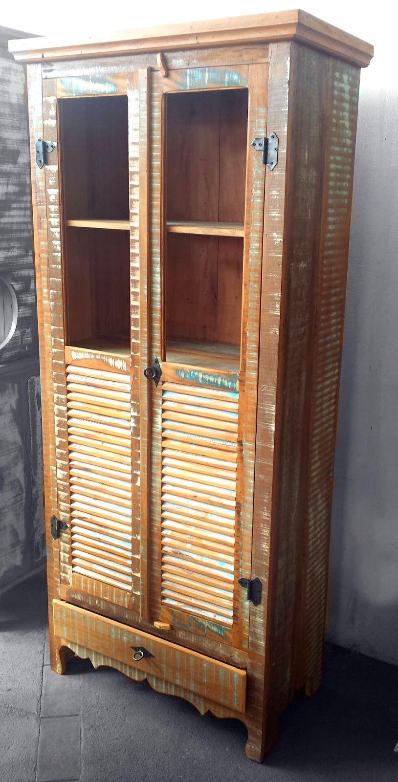 Stof Lar Decorações  Móveis em Madeira de Demolição  Armário Cristaleira ( -> Armario De Banheiro Madeira Demolicao