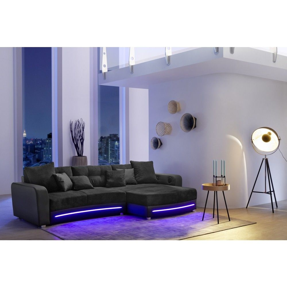 Amazing Wohnlandschaft LAREDO schwarz mit LED Beleuchtung und Soundsystem M bel g nstig und gut