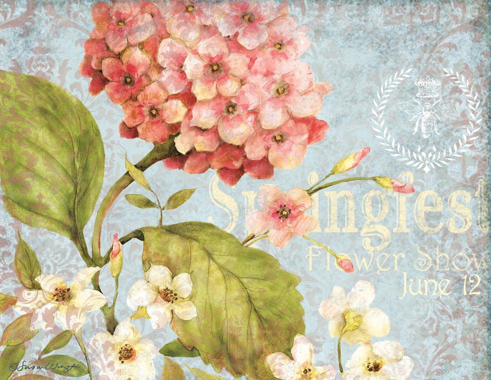 Pink hydrangea note cards 1005303 lang imagenes - Laminas decorativas vintage ...