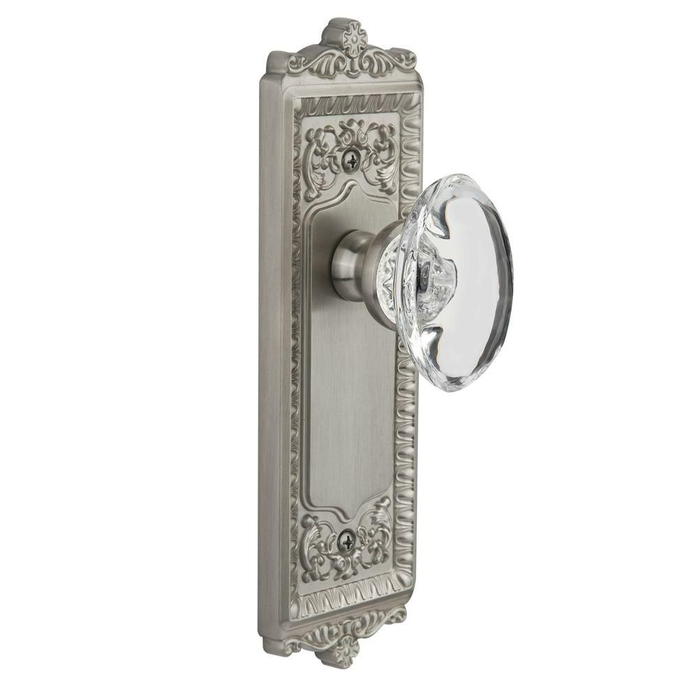 null Grandeur Satin Nickel Privacy Windsor Plate with Provence Crystal Knob
