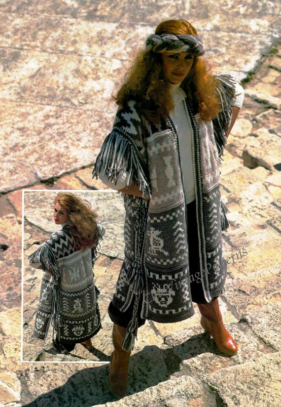 Knitted Tabard Or Poncho Inca Style Par Chicvintagepatterns